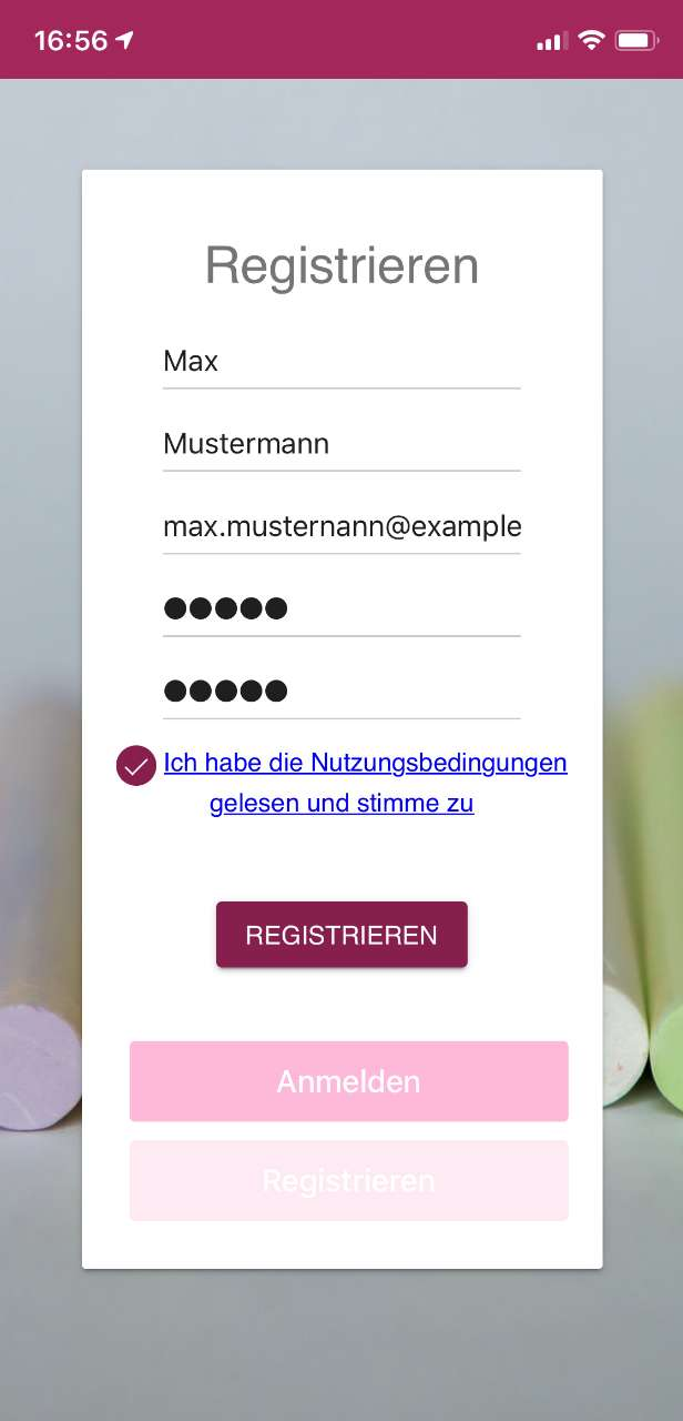 Registrierung Screenshot